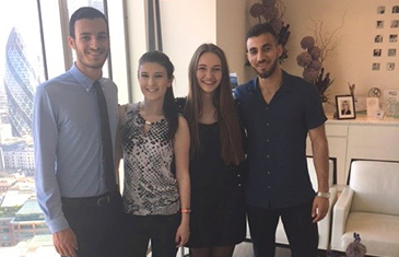 Pictured: Georgios Viopolous, Roxana Burghel, Victoria Lebed, Saleh Zaheer; the four placement students for 2016-2017