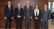 Professor Duncan Matthews (CCLS), Professor Spyros Maniatis (Director of CCLS), Francis Gurry (Director General of WIPO), Karen Lee Rata (Head of Academic Institutions and Executive Programme, WIPO Academy), Mohamed Abderraouf Bdioui (Senior Consellor, WIPO Academy)