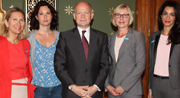 l-r: Professor Geraldine Van Bueren QC, Rowan Davies, William Hague, Anita Tiessen, Amal Alamuddin