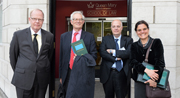 Thomas Baxter (General Counsel of the Federal Bank of New York), Prof Charles Goodhart (Economist, LSE), Prof Rosa Lastra (QMUL) and Prof Spyros Maniatis (QMUL)