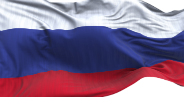 An image of the white, blue and red banded Russian flag.