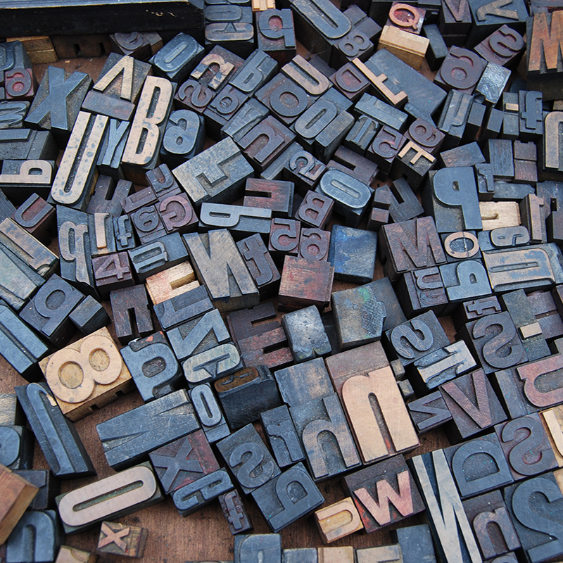 A photograph of lots of typographical ink stamps
