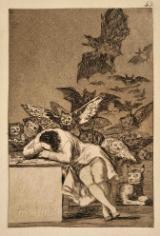 Engraving of a man sleeping with his arms resting on a desk while cats, owls and bats gather behind him