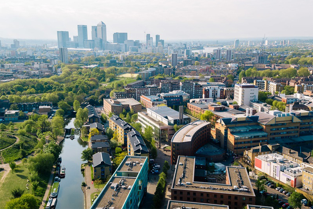 Image of campus with the London skyline