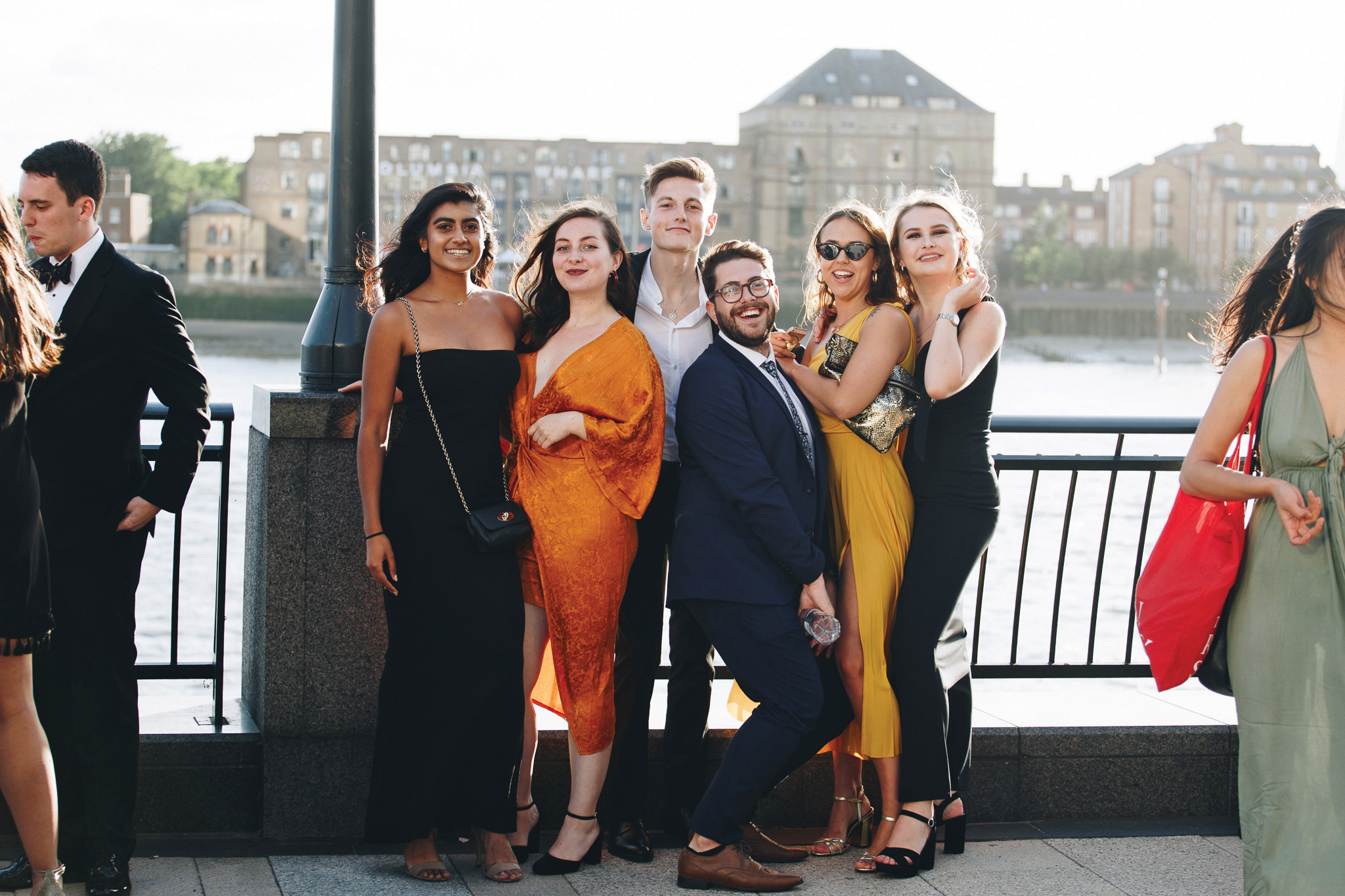 Freshers students standing by Thames River
