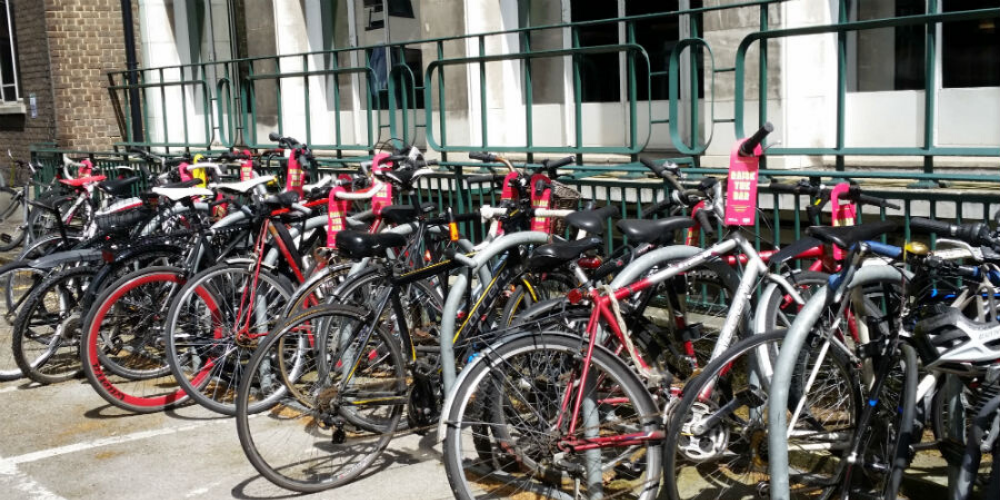 an image of a row of bikes