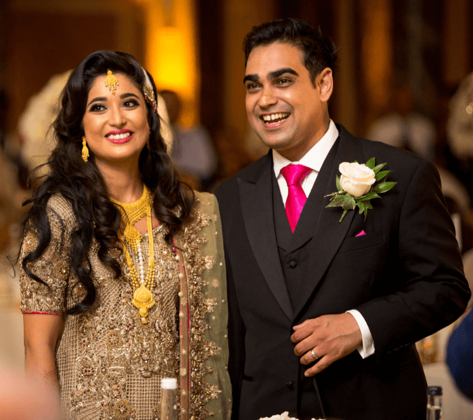 Photo of alumni couple Lillian and Omair on their wedding day