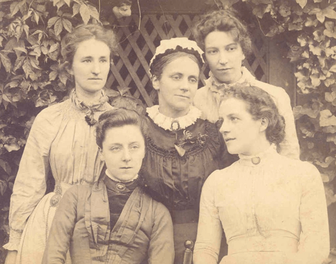 The first five teaching staff at Westfield College in 1888