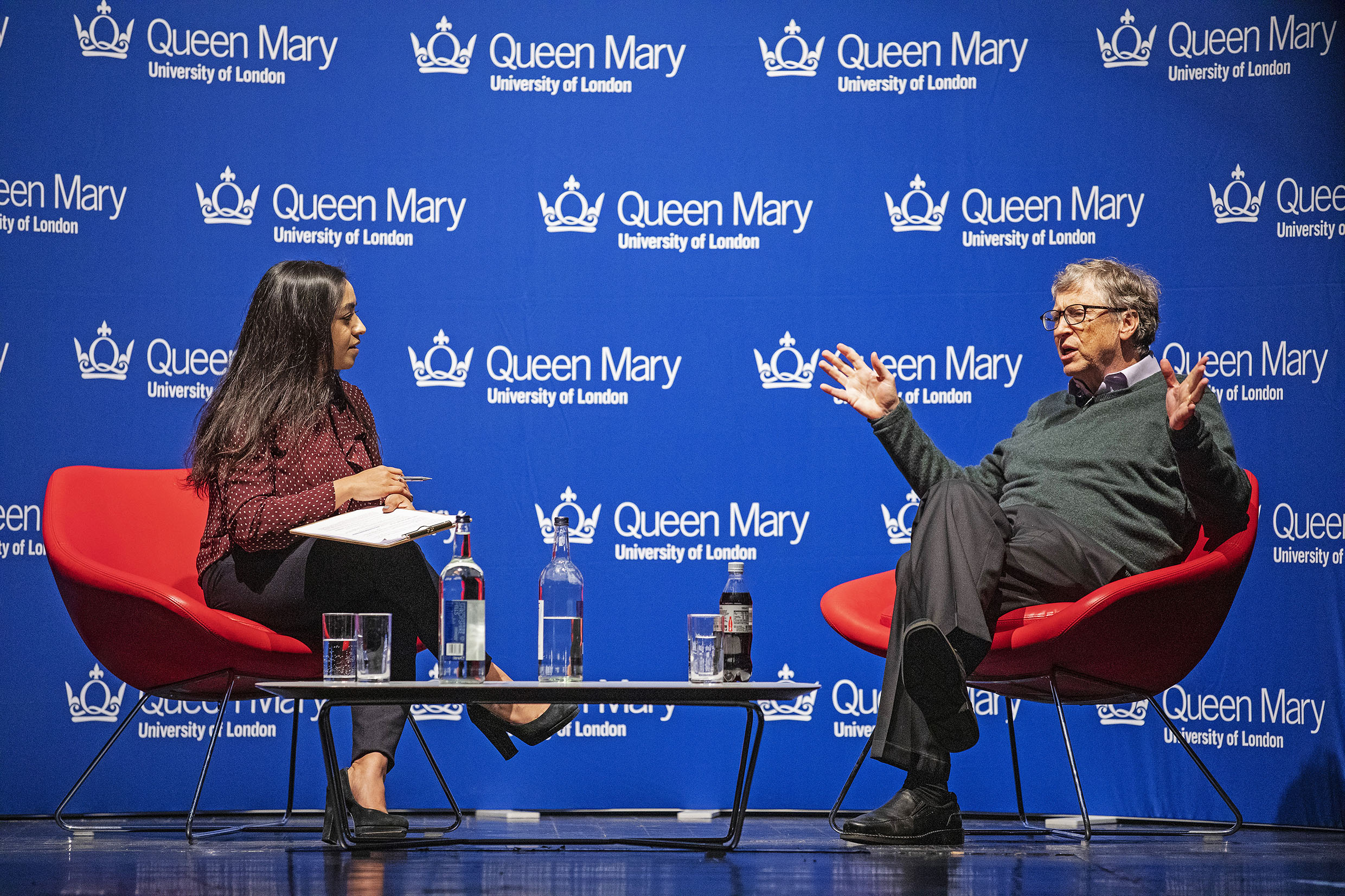 Bill gates being interviewed at a Queen Mary event