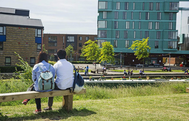 Students opposite Canalside on our Mile End campus