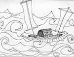 Pen and ink drawing by Linh Vu depicting the boat she escaped in, as a child, with her father from Vietnam