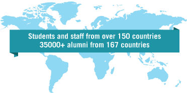 Students and staff from over 150 countries