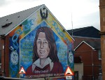 A mural depicting Bobby Sands who died in prison whilst on hunger strike in 1981