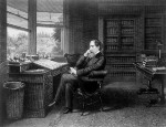 A vintage image of Charles Dickens in his study