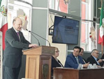 President and Principal, Professor Colin Bailey, speaking in Mexico