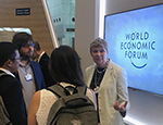 Professor Fran Balkwill speaking to guests at World Economic Forum