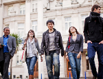 Postgraduate students outside Queen Mary University of London. Credit: Queen Mary