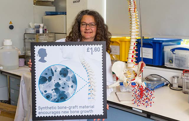 Dr Karin Hing with her stamp. Credit: Royal Mail