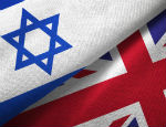 The flags of the UK and Israel
