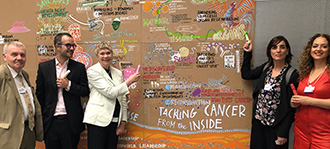 Professor Fran Balkwill with ERC delegates in front of artist's wall at World Economic Forum