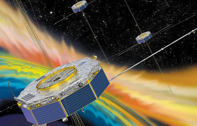 Illustration of the MMS spacecraft measuring the solar wind plasma in the interaction region with the Earth's magnetic field. Credit: NASA