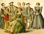 This vintage illustration depicts King Henry VIII standing with his members of his court.
