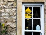 A stop Brexit sign in the window of a village house