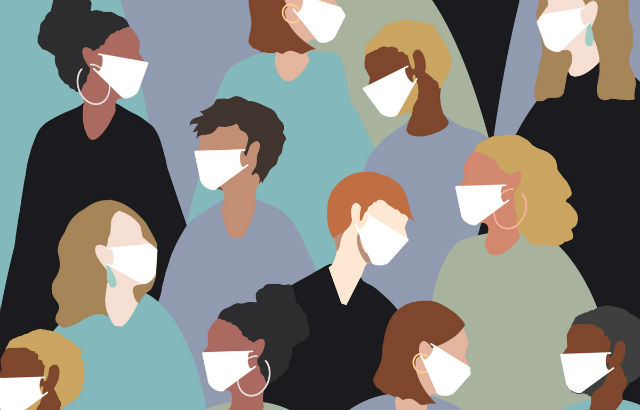 An illustration of people wearing face masks to avoid viral transmission