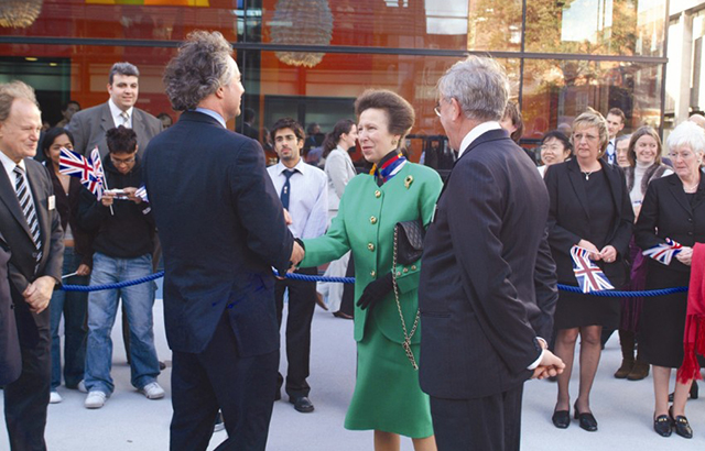 Principal greets the Princess Royal outside Blizard