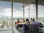 Queen Mary students can see stunning views across London from the Graduate Centre, a new £39m building added to our Mile End campus in 2017.