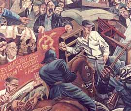 The Battle of Cable Street mural by artist Dave Binnington