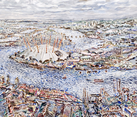 Water City (2006), part of an oil painting on canvas by local artist Frank Creber