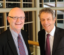 Warwick's Vice Chancellor Nigel Thrift and Queen Mary's Principal Professor Simon Gaskell