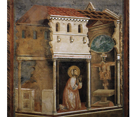 Painting by Giotto of St Francis - Miracle of the Crucifix
