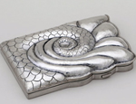 A sterling silver business-card holder from the collection, by silversmith Aoife White
