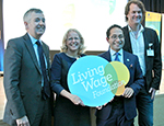 Professor Jane Wills (second from left) with other Living Wage Champions