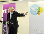 Mayor Boris Johnson announcing the new London Living Wage rate: Photo credit: Chris Jepson