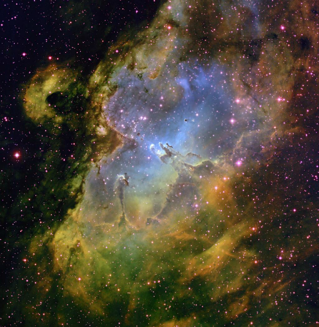 Most stars form in big stellar clusters. This image depicts a stellar cluster called M16 also known as The Eagle Nebula. Credit- T.A.Rector (NRAO/AUI/NSF and NOAO/AURA/NSF) and B.A.Wolpa (NOAO/AURA/NSF).