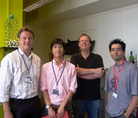 Professors Mike Reece (far left) and Ton Peijs (second right) with research team