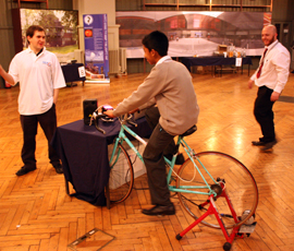 Year 10 St Paul's Way pupil Wahid Uddin tries out the disco bike