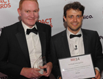 Adam Daykin,  Head of Technology Transfer (Tech & Eng) at QMI, with award host and TV presenter Steve Mould