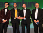 Ben Burns and Prof Jonathan Pitts (centre left and right) from Actual Experience accepting the award for Innovation and Entrepreneurship at the UK IT Industry Awards.
