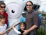Dr Proulx and family with Mandeville, the Paralympic mascot