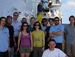 Scientists and technicians from QMUL and the National Oceanographic Centre (Southampton) on the working deck of the RRS James Cook. (c) Myrsini Chronopoulou