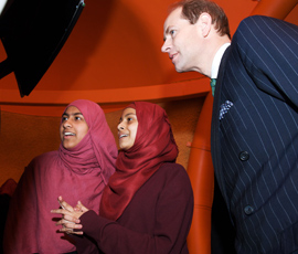 Prince Edward inside the 'pod' with pupils from Mulberry School for Girls