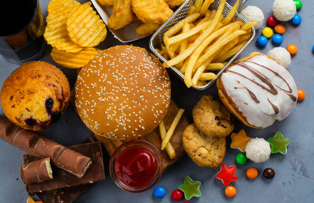 Selection of unhealthy foods and drink. Credit:happy_lark/ iStock.com