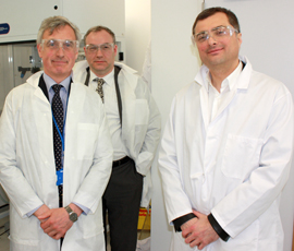 L-R; Chris Martin, CEO of Spirogen Ltd, Ramsay Richmond, Executive Manager QMB, Vladislav Surkov, Deputy Prime Minister