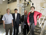L to R: Professor Robert Hill, Pushkar Wadke, Dr David Gillam and Dr Natalia Karpukhina, by the solid state NMR spectrometer
