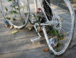 'Ghost bike' left as a tribute to a cyclist killed on the road