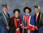 L-R: Sir Nicholas Montagu, Professor Rebecca Lingwood, Dr Christopher Smith collecting his award and President and Principal Professor Simon Gaskell